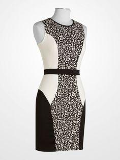 9594449fdda1  black  white  blackandwhite  geometric  colorblock  sheath  dress   patterned