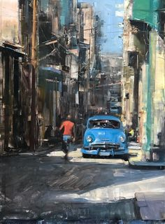 """Havana Classic"" by Bryan Mark Taylor Oil ~ x Urban Landscape, Abstract Landscape, Landscape Paintings, Urban Painting, City Painting, Classic Paintings, Contemporary Paintings, Peace Art, Guache"