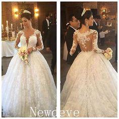 Vintage Long Train Wedding Dress V Neck Sheer Lace Back Bridal Gown Custom