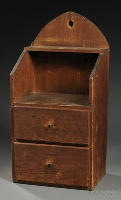 Pine Two-drawer Hanging Cupboard, probably New England, early 19th century, with pierced arched backboard, dovetail-constructed two-tier shelf and two drawers, natural surface, ht. 30 1/4, wd. 15, dp. 11 i