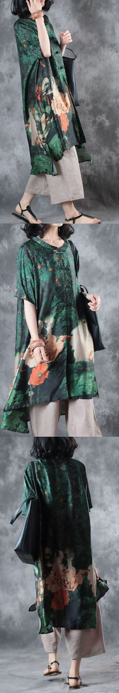 new green silk dresses plus size Chinese Button blouse half sleeve cardigans