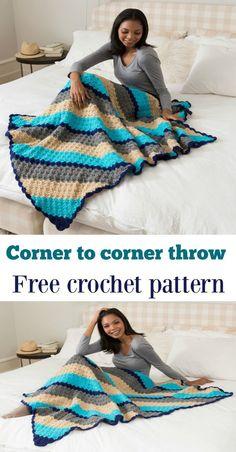 Free Pattern Crochet corner to corner throw blanket bedroom decor