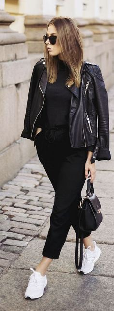 The Next Episode Black And White Sporty Street Fall women fashion outfit clothing stylish apparel @roressclothes closet ideas