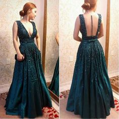 sexy prom dresses, long dark green prom dresses, open back prom dresses, A-line prom dresses, deep v neck prom dresses, beaded prom dresses, evening dresses, party gowns#SIMIBridal #promdresses
