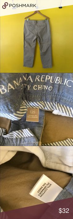 Banana Republic Khaki city pant chinos Banana Republic Khaki city pant chinos.  Soft Chino Pants that can be cuffed for a boyfriend pant look or left straight.  Comfortable style  these are tagged  a 12 S Approximate Measurements: W:  18,  L:  35  I:  26 Banana Republic Pants Ankle & Cropped