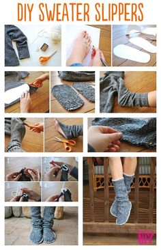 sweater slipper boots adorable DIY slippers that will give you the warm fuzzies} Diy Pullover, Alter Pullover, Sewing Hacks, Sewing Crafts, Sewing Projects, Diy Crafts, Sewing Tutorials, Sewing Tips, Diy Kleidung