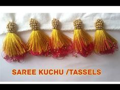 New Double Colour Saree Kuchu /Tassels Making Saree Tassels Designs, Saree Kuchu Designs, Saree Blouse Neck Designs, Kurti Neck Designs, Sugar Beads, Embroidery Hearts, Embroidery Kits, Saree Border, Crochet Designs