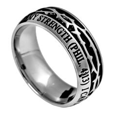CHRIST MY STRENGTH Philippians 4:13 Men's Crown Of Thorns Ring, Stainless Steel