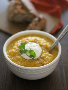Crock Pot Butternut Squash and Parsnip Soup | http://www.theroastedroot.net