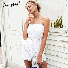 46ba76a02433 Simplee Strap cotton embroidery white rompers Womens jumpsuit tassel crochet  sexy playsuit Summer high waist macacao feminino