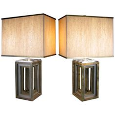 Pair of 1970s Italian Chrome and Brass Lamps by Romeo Rega | From a unique collection of antique and modern table lamps at https://www.1stdibs.com/furniture/lighting/table-lamps/