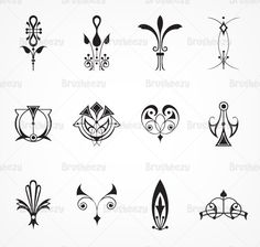 Art-deco-ornament-brushes. Would be AWESOME as tattoos! I think I found my tattoo!