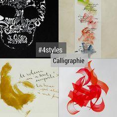 """Je triche un peu en proposant un """"4styles"""" pour mes calligraphies et un pour mes dessins. . . .  #4styles #calligraphie #4StylesCalligraphie . #calligraphy #4StylesCalligraphy Movie Posters, Color Pencil Picture, Calligraphy, Sketch, Drawings, Artist, Paint, Film Poster, Billboard"""