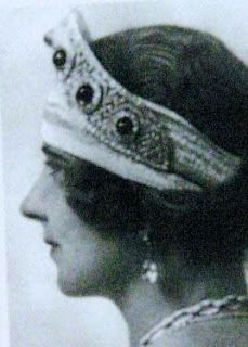 Queen Maria of Yugoslavia, wearing a tiara that formerly belonged to the Grand Duchess Ella and the Grand Duchess Maria Pavlovna the younger.