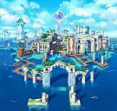 The city Hydropolis from Ni No Kuni looks like the future when the oceans rise and big brother is watching over us all.