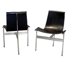 1stdibs | Pair of Three Legged Black Leather Sling Chairs for Laverne