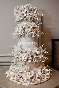 Magnificent white floral wedding cake by Sylvia Weinstock.