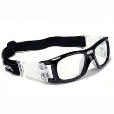 ce8254b55f Basketball Football Soccer Sport Safety Goggles Men s Polished Black Wrap  Around Frame Clear Lens
