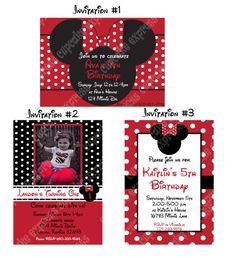 DIY Minnie Mouse Red Deluxe PRINTABLE  birthday party package red black
