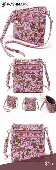 """Pink Owl Canvas Crossbody Bag Brand new with tags. Measurements are  Length 8"""" Height 9"""" Depth 1.5"""" Shoulder strap is adjustable. Bags Crossbody Bags"""