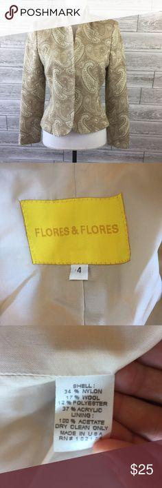 """FLORES FLORES Blazer 4 Suit Jacket Beige Open Fron FLORES FLORES Blazer 4 Suit Jacket Beige Open Front Wool Blend Paisley No flaws 18.5"""" Pit to pit 21.5"""" Length 15"""" Shoulder 23.5"""" Sleeve  No flaws flores flores Jackets & Coats Blazers"""