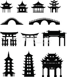 Illustration of Chinese traditional buildings vector art, clipart and stock vectors. Chinese Culture, Japanese Culture, Japanese Art, African Culture, Japanese Buildings, Chinese Crafts, Asian Architecture, Ancient Architecture, Building Drawing