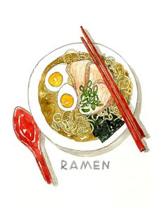 Large Bowl of Ramen with egg, nori and green onions/ Illustrated Watercolor Art Print Pen And Watercolor, Watercolor Illustration, Watercolor Wallpaper, Watercolor Painting, Carta Collage, Food Design, Photo Animaliere, Drawn Art, Food Painting