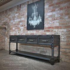 Modern Industrial Sofa Table Entryway Riveted Steel