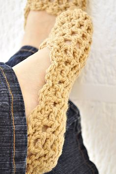 MOM - can you please make these for me?!?  Something non-wool please : ). Thanks love, your favorite daughter S  Crochet Slippers Pattern  by IsabelleKnits.... Maybe sew on a leather sole too