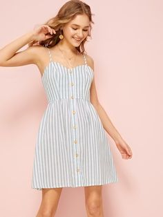 Shop Button Front Striped Slip Dress at ROMWE, discover more fashion styles online. Dress P, Dress Outfits, Sundress Season, Button Front Dress, Romwe, Striped Dress, Latest Trends, Plaid, Summer Dresses