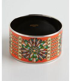 Hermes orange and silver enamel 'Rubans' extra wide bangle