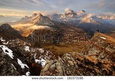 On the Edge of a Mountain Ridge, Dolomites, Italy