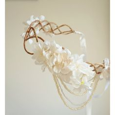Ivory bridal headpiece, flapper flower crown, wedding accessory ($60) ❤ liked on Polyvore