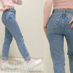 high waisted slim fit boyfriend jeans More