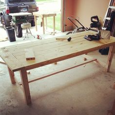 farmhouse table diy | My wife is a pinterest guru, and found plans for this table at http ...