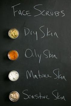 Homemade Face Scrubs for Every Skin Type | http://helloglow.co/homemade-face-scrubs-every-skin-type/