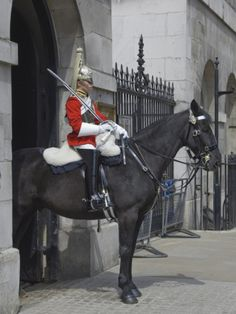 A soldier of the Queen's Horse Guard on parade in Whitehall, London, England. www.bhctours.co.uk