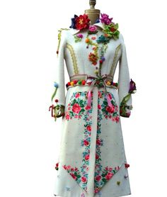 Bohemian floral sweater COAT/ Art to wear OOAK by amberstudios