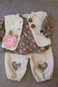 Waldorf Girl Doll Clothes - Trousers, Blouse & Sweater, fit 15,16 inch dolls…