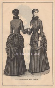 1869 Black Mourning Dress-Pattern-Funeral-Costume-Victorian-Grief-Outfit-Clothes-Clothing-Grenadine-Antique Vintage Art PRINT-Gothic Picture via Etsy