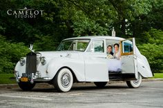 Bride and Groom inside Camelot Limo