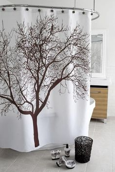 Brown Tree Shower Curtain - Shower Curtains - Bath Linens - Linens & Fabrics | HomeDecorators.com