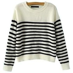 White Round Neck Loose Fit Jumper With Stripes ST1060039