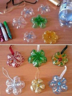 Water Bottle Crafts for Kids - Easy Plastic Bottle CraftsFind water bottle crafts for kids. 12 water bottle crafts for kids. They will love these plastic bottle craft ideas to keep them busy. Christmas Ornament Crafts, Snowflake Ornaments, Christmas Crafts For Kids, Christmas Projects, Holiday Crafts, Christmas Diy, Diy Ornaments, Homemade Ornaments, Christmas Snowflakes