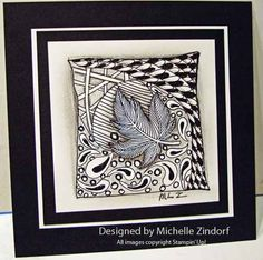 a zentangle beauty using a stamp as a starting point