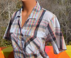 vintage 70's blouse PLAID short sleeve shirt tailored rainbow western preppy women's 12 Large essex junction by skippyhaha on Etsy