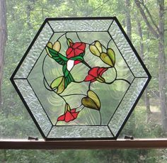 Stained Glass Panel, Hexagon with Hummingbird and Flowers on Etsy, $295.00