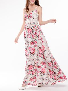 Floral Print Sexy Hollow Camisole V-neck Women Maxi Dress is high-quality, see other cheap summer dresses on NewChic. Cheap Summer Dresses, Cheap Maxi Dresses, Street Chic, Floral Maxi Dress, Swing Dress, Elegant Dresses, Weather Wear, Casual Chic, Everyday Fashion