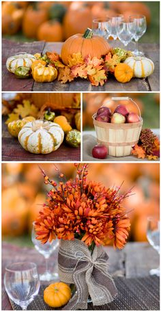 Creating a fall centerpiece for your wedding tables or parties doesn't have to be expensive. We created 3 looks for your celebration and stayed around $15 or less. Your supply list can be found at your local craft store and grocery store/farmers market.  1. Set a small pumpkin in the middle on top of an artificial fall leaf wreath. Tuck in  ...