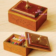 Free Shipping ! Brown Vintage Sewing kit Box Quality~ 1/12 Scale Dollhouse Miniature Furniture(China (Mainland))